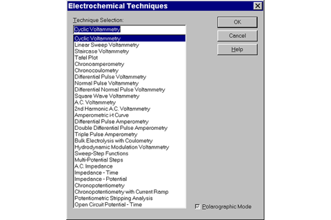 large repertoire of electrochemical techniques